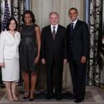 Nicolae Timofti, preşedintele Republicii Moldova, a pozat împreună cu Barack Obama şi soţia acestuia
