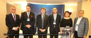FOTO: Traian Halalai, Marius Stoian, Thierry de Montbrial, Răsvan Radu, Alexandra Gătej si Vasile Iuga la World Policy Conference